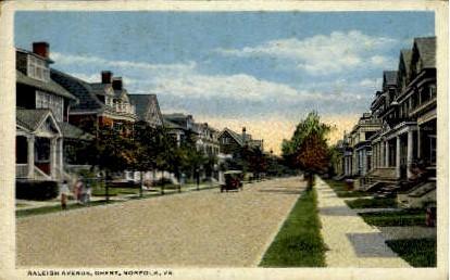 Raleigh Avenue - Norfolk, Virginia VA Postcard