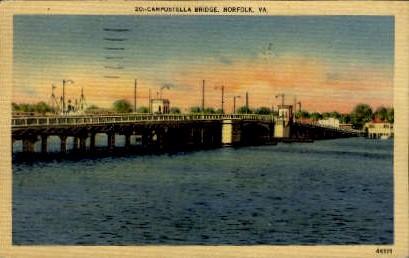 Campostella Bridge - Norfolk, Virginia VA Postcard
