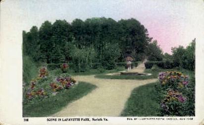 Scene In Lafayette Park - Norfolk, Virginia VA Postcard