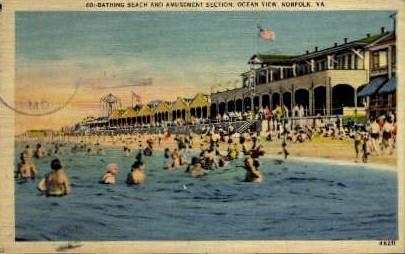 Bathing Beach - Norfolk, Virginia VA Postcard