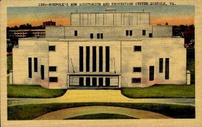 New Auditorium And Recreation Center - Norfolk, Virginia VA Postcard