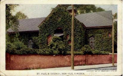 St. Pauls Episcopal Church - Norfolk, Virginia VA Postcard