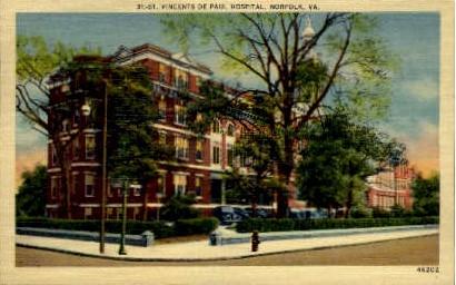 St. Vincent's De Paul Hospital - Norfolk, Virginia VA Postcard