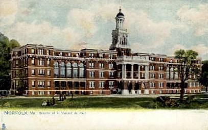Hospital of St. Vincent De Paul - Norfolk, Virginia VA Postcard