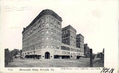Monticello Hotel - Norfolk, Virginia VA Postcard