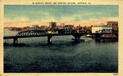 Berkley Bridge - Norfolk, Virginia VA Postcard