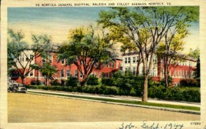Norfolk General Hospital  - Virginia VA Postcard