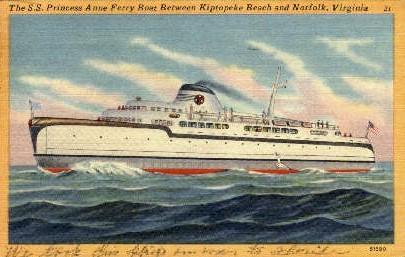 Princess Anne Ferry Boat - Norfolk, Virginia VA Postcard