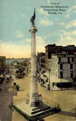 Confederate Monument - Norfolk, Virginia VA Postcard