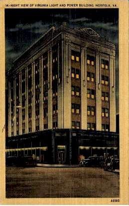 Light And Power Building - Norfolk, Virginia VA Postcard