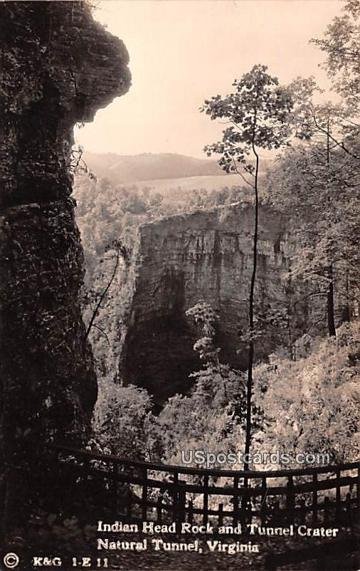 Indian Head Rock and Tunnel Crater - Natural Tunnel, Virginia VA Postcard