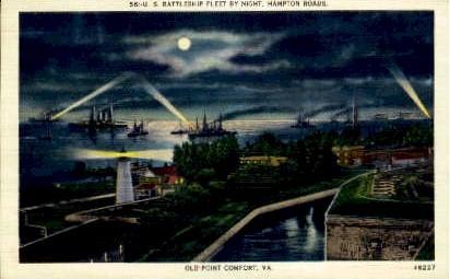 Battleship Fleet, Hampton Roads - Old Point Comfort, Virginia VA Postcard