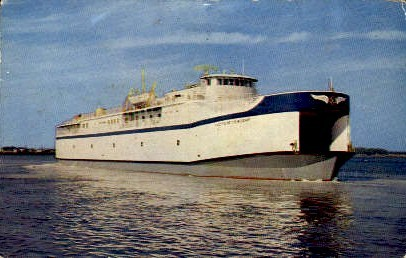 Automobile-Passenger Ferry - Old Point Comfort, Virginia VA Postcard