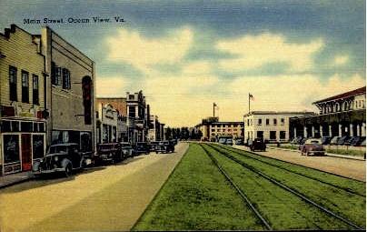 Main Street - Ocean View, Virginia VA Postcard