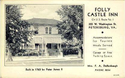 Folly Castle Inn - Petersburg, Virginia VA Postcard
