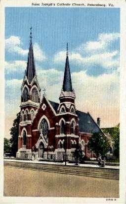 St. Joseph's Catholic Church - Petersburg, Virginia VA Postcard
