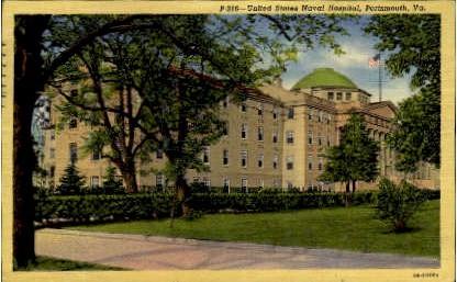 U. S. Naval Hospital - Portsmouth, Virginia VA Postcard