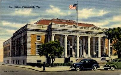 Post Office - Portsmouth, Virginia VA Postcard