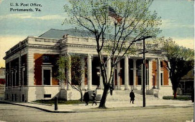 U. S. Post Office - Portsmouth, Virginia VA Postcard