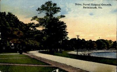 Drive, Naval Hospital Grounds - Portsmouth, Virginia VA Postcard