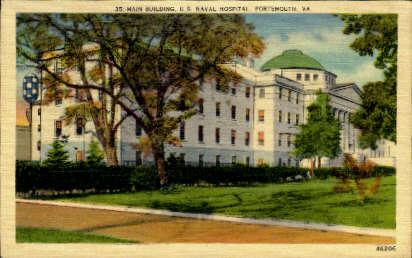 Main Building, U. S. Naval Hospital - Portsmouth, Virginia VA Postcard