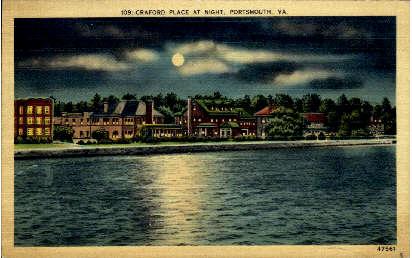 Craford Place - Portsmouth, Virginia VA Postcard