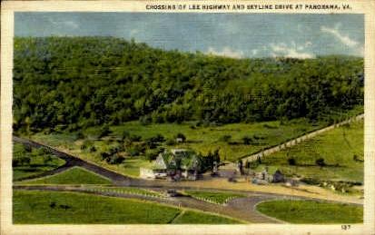 Lee Highway and Skyline Drive - Panorama, Virginia VA Postcard