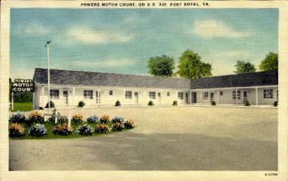 Powers Motor Court - Port Royal, Virginia VA Postcard