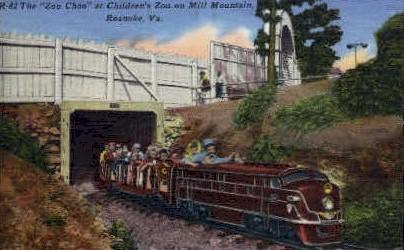 The Zoo Choo at Childrens Zoo - Roanoke, Virginia VA Postcard