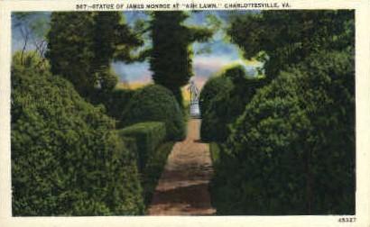 Statue of James Monroe - Charlottesville, Virginia VA Postcard
