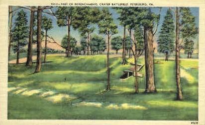 Intrenchments, Crater Battlefield - Petersburg, Virginia VA Postcard