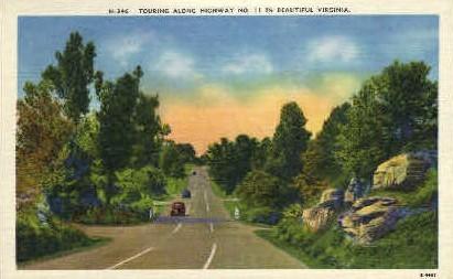Touring along Highway No. 11 - Misc, Virginia VA Postcard