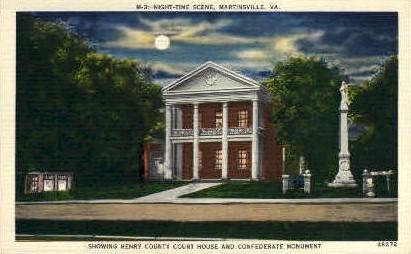 Night Time Scene - Martinsville, Virginia VA Postcard