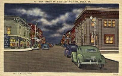 Main St. West - Salem, Virginia VA Postcard