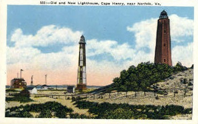 Old & New Lighthouses - Norfolk, Virginia VA Postcard