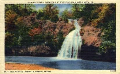 Waterfall at Riverside - Buena Vista, Virginia VA Postcard