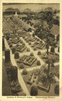 Gardens of Governors Palace  - Williamsburg, Virginia VA Postcard