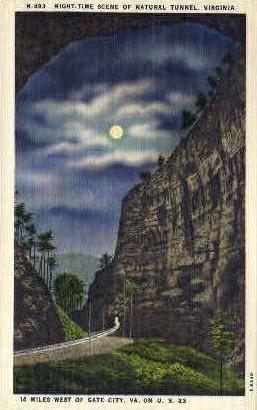 Night Scene of Natural Tunnel - Misc, Virginia VA Postcard