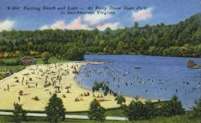 Bathing Beach and Lake - Basset, Virginia VA Postcard