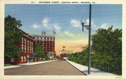 Jefferson St. North - Roanoke, Virginia VA Postcard
