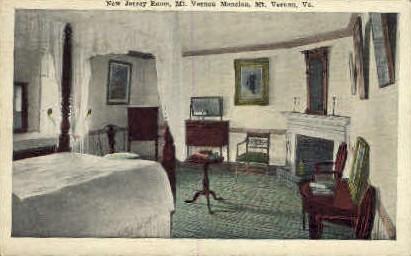New Jersey Room - Mt Vernon, Virginia VA Postcard