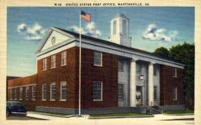 U.S. Post Office - Martinsville, Virginia VA Postcard