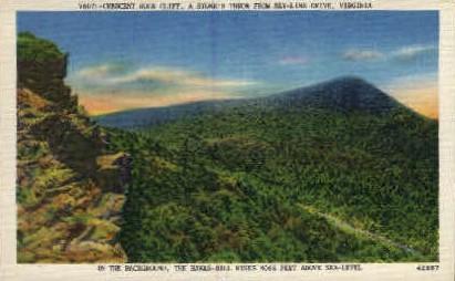Crescent Rock Cliff - Misc, Virginia VA Postcard