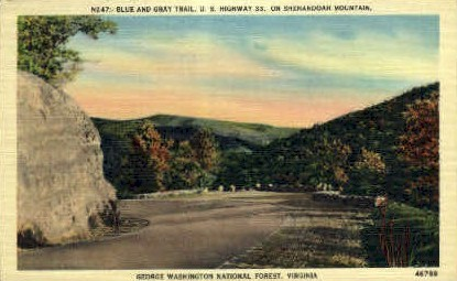 Blue & Gray Trail - Misc, Virginia VA Postcard