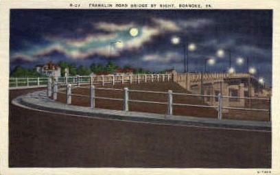 Franklin Road Bridge - Roanoke, Virginia VA Postcard