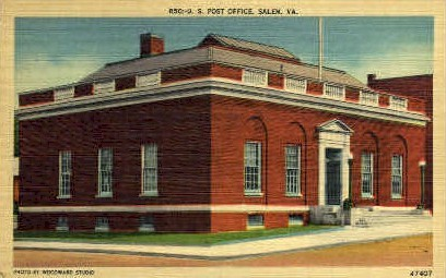 U.S. Post Office - Salem, Virginia VA Postcard