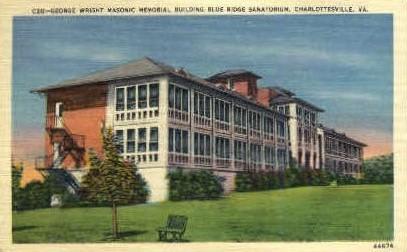 George Wright Masonic Memorial Bldg. - Charlottesville, Virginia VA Postcard