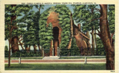 Oldest Church in America - Jamestown, Virginia VA Postcard
