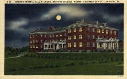 Madame Rissell Hall, Radford College - Virginia VA Postcard