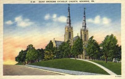 Saint Andrews Catholic Church - Roanoke, Virginia VA Postcard